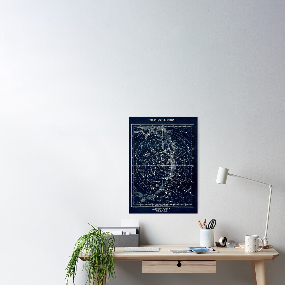 THE STAR CONSTELLATIONS : Vintage 1900 Galaxy Print Poster