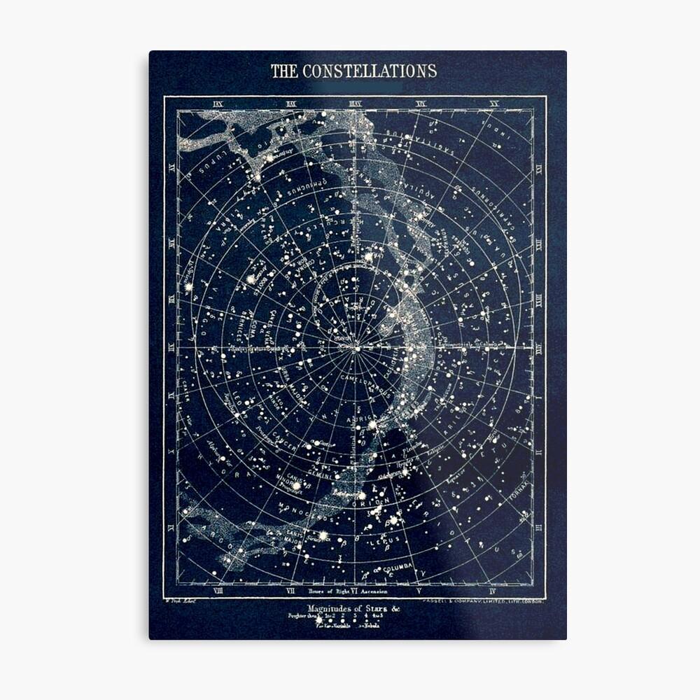 DIE STERN-KONSTELLATIONEN: Weinlese-Galaxie-Druck 1900 Metalldruck