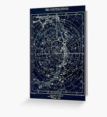 DIE STERN-KONSTELLATIONEN: Weinlese-Galaxie-Druck 1900 Grußkarte