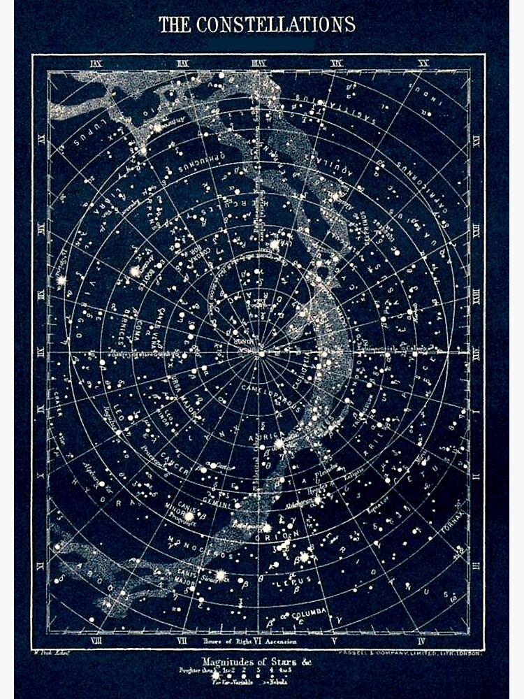 DIE STERN-KONSTELLATIONEN: Weinlese-Galaxie-Druck 1900 von posterbobs