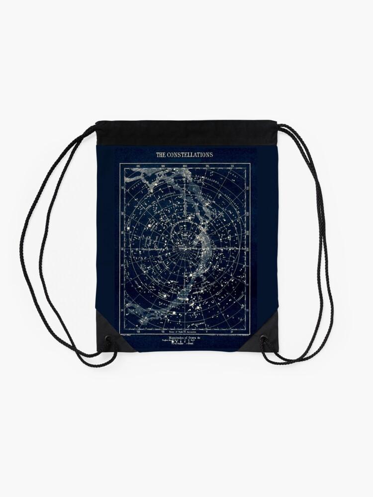 Alternative Ansicht von DIE STERN-KONSTELLATIONEN: Weinlese-Galaxie-Druck 1900 Rucksackbeutel