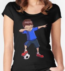 Dabbing Soccer T shirt for Boys Dab Dance Funny Football Tee Women's Fitted Scoop T-Shirt
