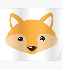 cute happy fox face Poster