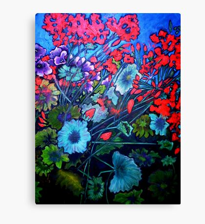 Red Flower Garden - Oil Painting Canvas Print
