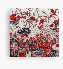 Woodcut Flowers in Red Canvas Print