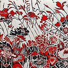 """Woodcut Flowers in Red by Belinda """"BillyLee"""" NYE (Printmaker)"""