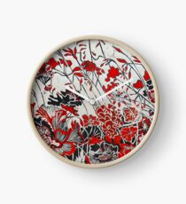 Woodcut Flowers in Red Clock