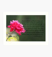 Pink Rose with 1 Corinthians 13:4-7 Art Print