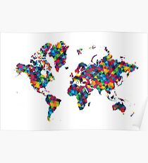 World map abstract geometric pattern Poster