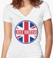 Just British Motoring Magazine Round Logo Women's Fitted V-Neck T-Shirt