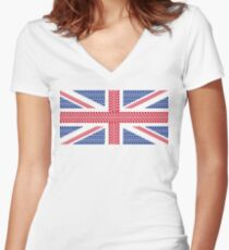 Tire track Union Jack British Flag Women's Fitted V-Neck T-Shirt