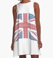 Tire track Union Jack British Flag A-Line Dress