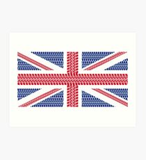 Tire track Union Jack British Flag Art Print