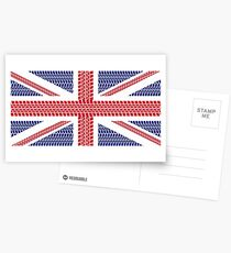 Tire track Union Jack British Flag Postcards