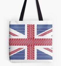 Tire track Union Jack British Flag Tote Bag