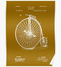 Bicycle - High Wheel - 1885 Nye Velocipede Patent Poster