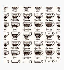 Coffee type recipe seamless pattern Photographic Print