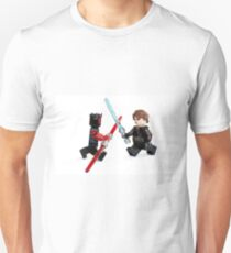 Lego Star Wars minifigure Anakin Skywalker and Darth Maul are fighting with sword isolated on white background. T-Shirt