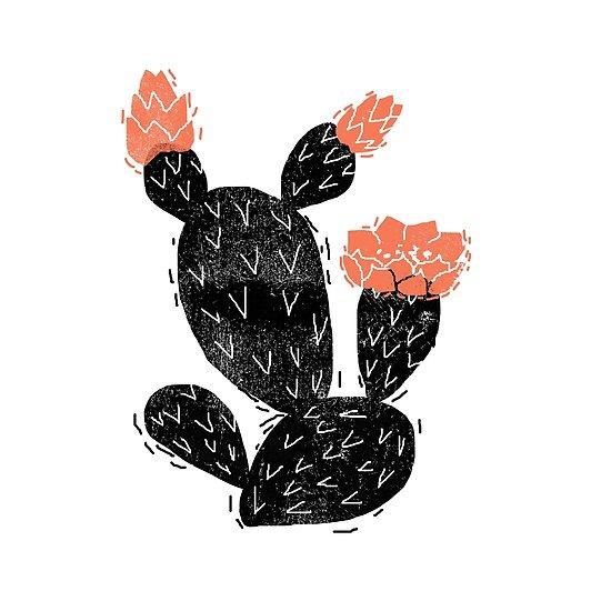 Pósters Flor De Cactus En Blanco Y Negro Desierto De Linograbado