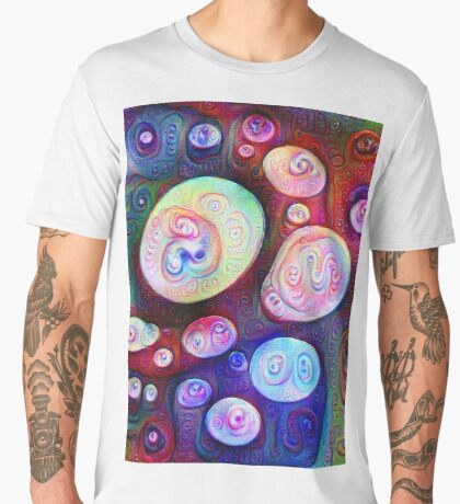 #DeepDream bubbles on frozen lake 5x5K v1450615886 Men's Premium T-Shirt
