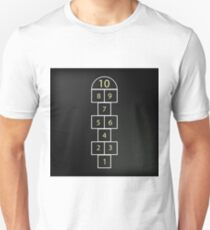 Hopscotch Game Isolated on Abstract Black Background. T-Shirt