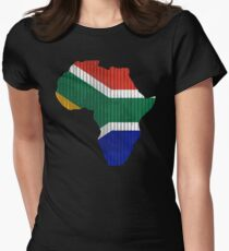 South Africa Flag in Shape of Africa Women's Fitted T-Shirt
