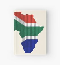 South Africa Flag in Shape of Africa Hardcover Journal