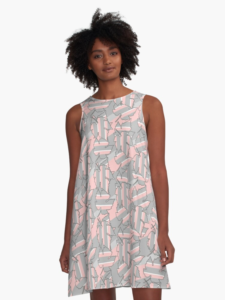 Rose and grey leaves pattern A-Line Dress Front