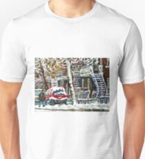 MONTREAL SNOWSTORM WINTER STREET SCENE PAINTING T-Shirt