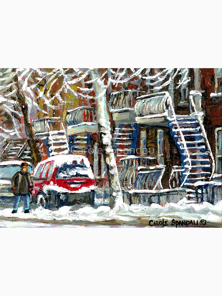 MONTREAL SNOWSTORM WINTER STREET SCENE PAINTING by CaroleSpandau