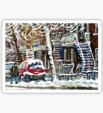 MONTREAL SNOWSTORM WINTER STREET SCENE PAINTING Sticker