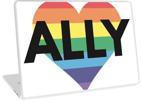 Lgbt Ally Heart Rainbow Laptop Skins By Vikingforge Redbubble