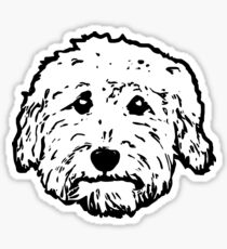 Goldendoodles! Adorable doodle dogs in black and white Sticker