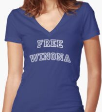 Free Winona  Women's Fitted V-Neck T-Shirt