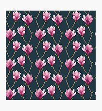 Magnolia Watercolor Floral Pattern Photographic Print