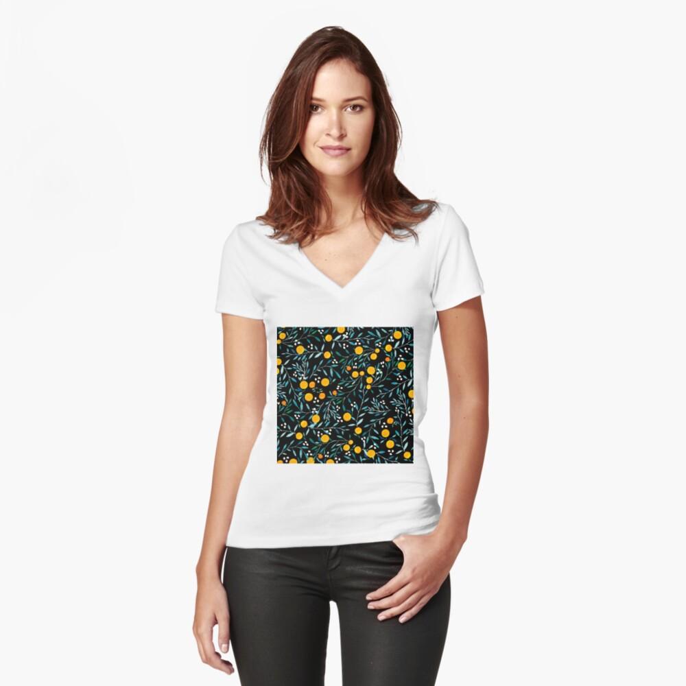 Oranges on Black Fitted V-Neck T-Shirt