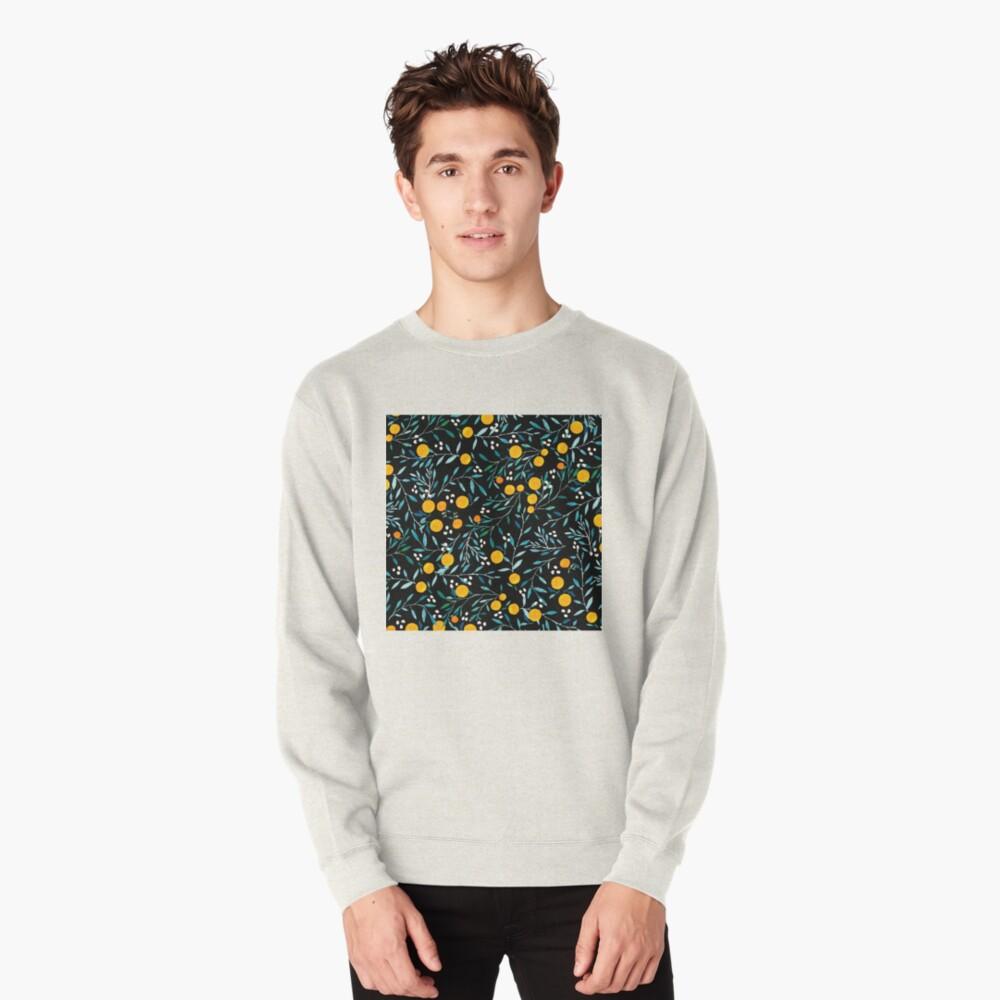 Oranges on Black Pullover Sweatshirt