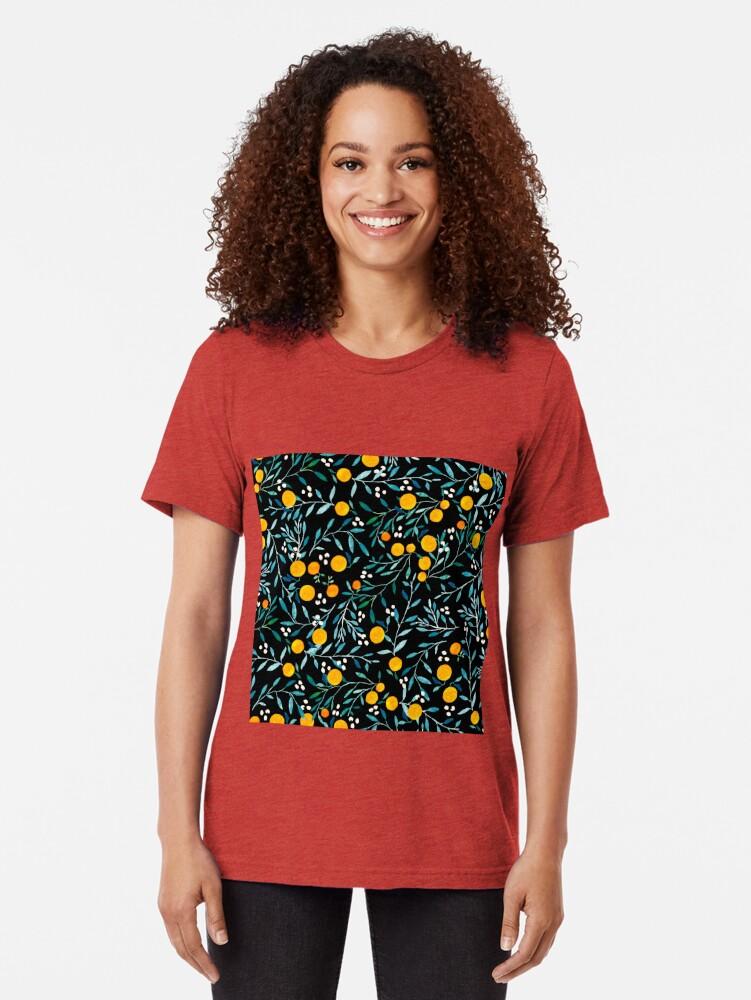 Alternate view of Oranges on Black Tri-blend T-Shirt