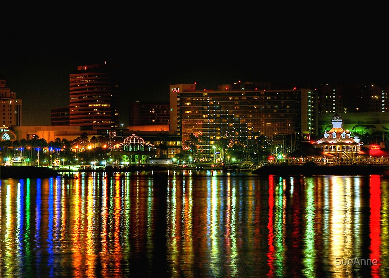 Quot Long Beach City Lights Quot By Sueanne Redbubble