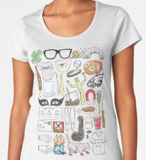 It's Always Sunny in Philadelphia Flat Lay Hand Drawn Illustration Women's Premium T-Shirt