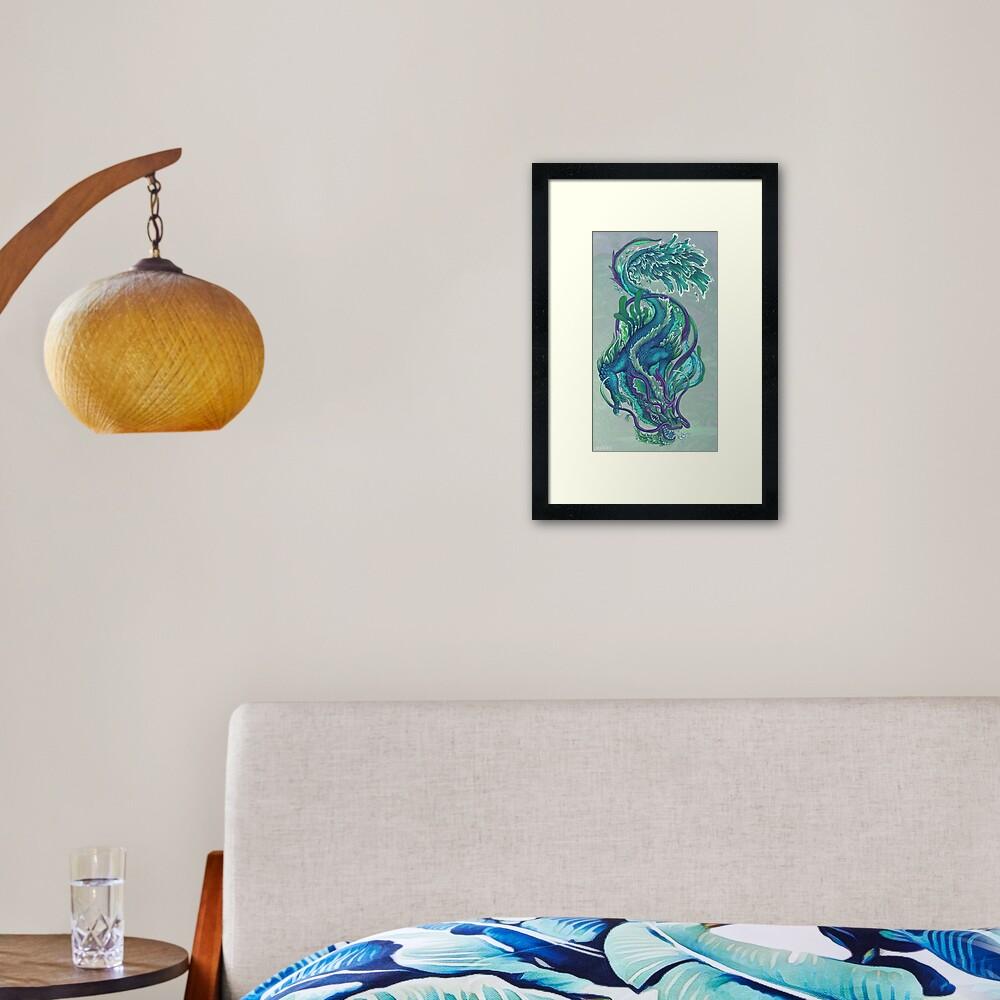 Imperial Water Dragon Framed Art Print