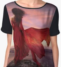 Woman in red dress flying in the wind looking at the ocean in sunset art print Women's Chiffon Top