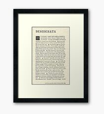 The Original Desiderata Poster by Max Ehrmann Framed Print
