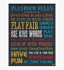 Playroom Rules Photographic Print