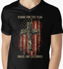 Stand for the flag. Kneel for the cross. Men's V-Neck T-Shirt