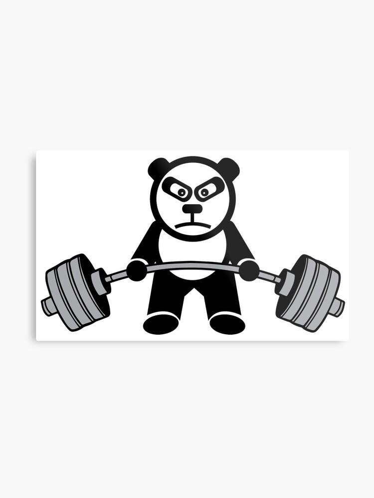 Weightlifting Panda Bear Metal Print By Mchanfitness Redbubble