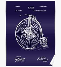 Bicycle - High Wheel - 1885 Nye Velocipede Patent - Blue Poster