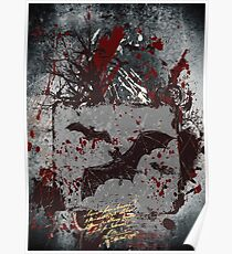 Vampire Bats - Blood Spatters - Grunge Design Poster