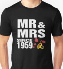 Top Gifts For Wedding Anniversary Since 1959. Funny T-shirt For Couples Unisex T-Shirt