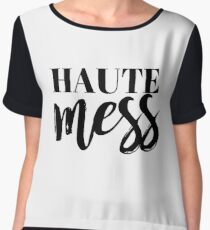 Haute Mess Typography in Black Chiffon Top